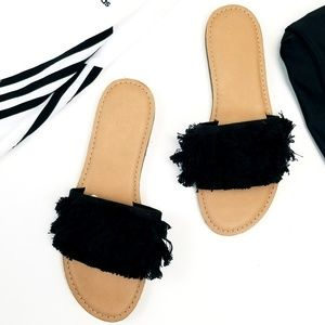 Embellished Slide Black Fringe Sandles Old Navy